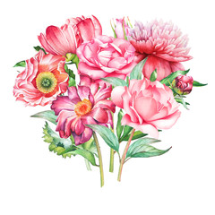 Beautiful watercolor hand drawn bouquet with red and pink flowers isolated on white background.