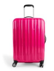 Large polycarbonate suitcase isolated on white