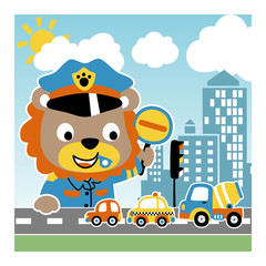 animal traffic cop cartoon