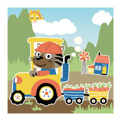 cartoon animal on tractor with harvest