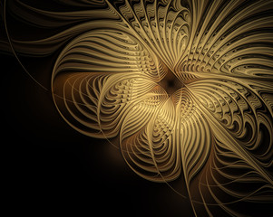 Abstract golden pattern on a black background. Fractal