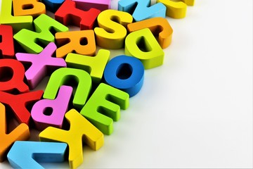 An concept Image of a Alphabet Baby toy - letters - with copy space