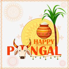Happy Pongal religious festival of South India celebration background