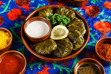 Sarma (grape vine leaves, stuffed with rice),a traditional mediterranean dish