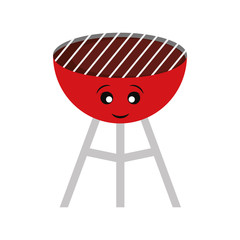 kawaii barbecue grill  vector illustration