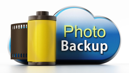 Cloud symbol with backup text and film strip. 3D illustration