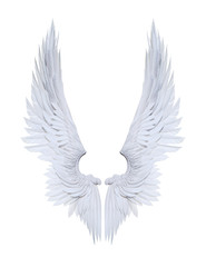 3d Illustration Angel wings, white wing plumage isolated on white background with clipping path.