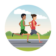 couple running outside round icon icon vector illustration graphic design