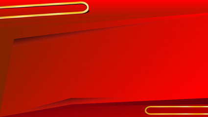 Red background with gold line for text