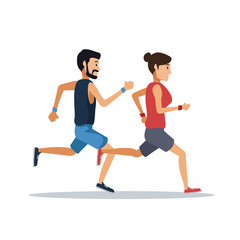 couple running over white background icon vector illustration graphic design