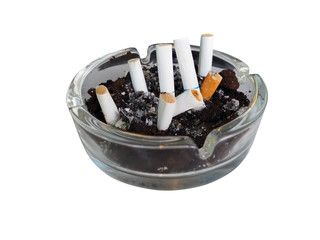 Cigarette in the ashtray isolated on white background side view