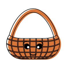 kawaii picnic basket  vector illustration