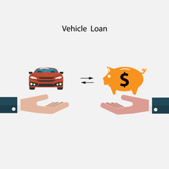Car icon,Piggy sign and Human hand symbol.Vehicle loan promotion concept.Transport concept.Smart life & Work life balance concept.Vector illustration.