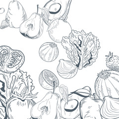 Vegetables and fruits hand draw icon vector illustration graphic design
