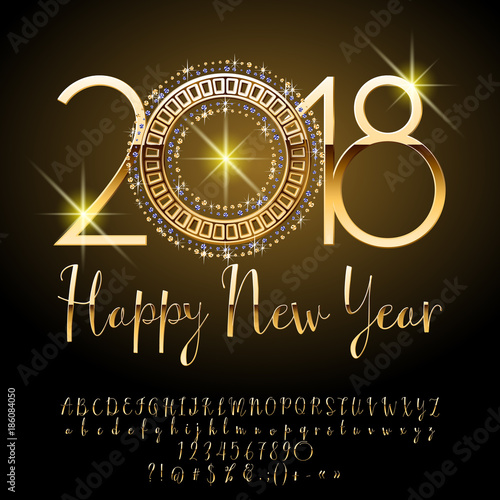 vector luxury greeting card happy new year 2018 set of chic alphabet letters numbers