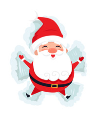 Merry Santa Laying on Snow Making Figures Vector