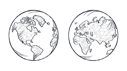 Earth Planet Model Icon Vector Illustration