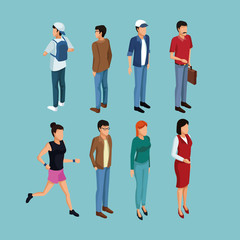 Isometric people 3d on blue background vector illustration graphic