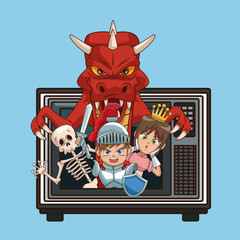 Videogames characters cartoons on old tv icon vector illustration graphic design