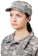 Sad Female Soldier in Uniform