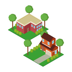 Isometric town 3d on background vector illustration graphic