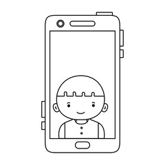 line smartphone technology with boy person communication