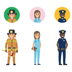Set of Firefighter, Medical Adviser and Policeman