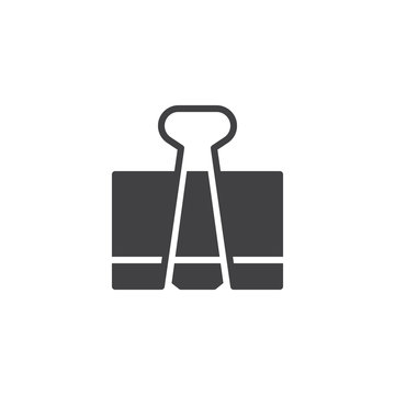 Paper clip icon vector, filled flat sign, solid pictogram isolated on white. Paper clamp symbol, logo illustration.