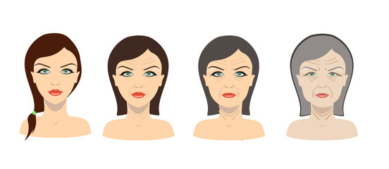 Vector aging process. Young girl and older woman