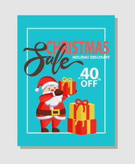 Christmas Sale Holiday Discount 40 Off Vector