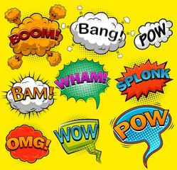 Comic speech bubbles. Sound effects. Vector illustration