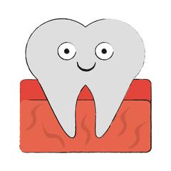 Tooth dental symbol cartoon smiling vector illustration graphic design