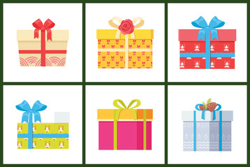 Gift Box Present Wrapped Package Icon Vector Set.