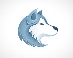 Husky dog head logo vector illustration - winter outdoor siberian husky sledding safari logo