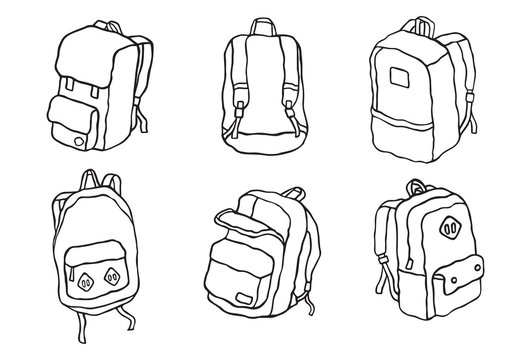 vector School backpack Street backpack Travel backpack illustration set