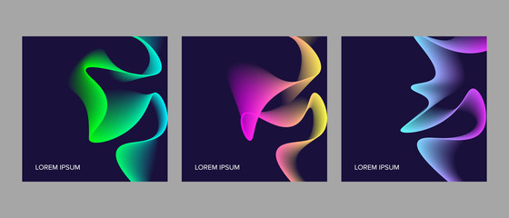 set of trendy cards with abstract dynamic design
