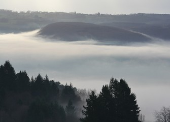Colline noyée dans la brume