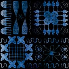 African tribal aborigines painting. Geometric seamless patterns