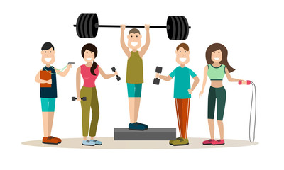 Gym people vector flat icon set