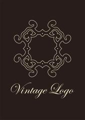Vintage ornamental emblem. Luxury elegant ornament. Flourished logo. Element for brochures. Template for design. Vector illustration