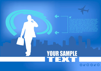 Businessman Silhouette On Blue Background