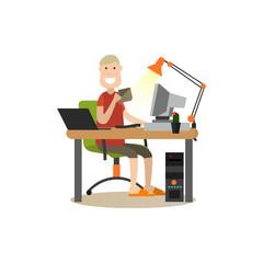 Internet people flat vector illustration