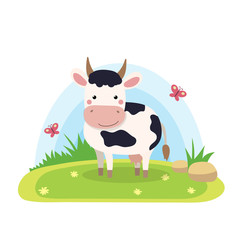Farm animals with landscape - cute cartoon vector illustration with cow