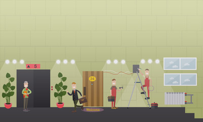 Internet installing services concept flat vector illustration