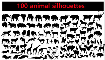 Collection of animal silhouettes on white background Wall mural