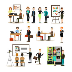 Office people vector flat icon set
