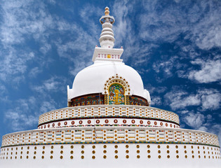 Shanti Stupa, Peace Pagoda in Leh, Ladakh, Jammu and Kashmir state, India.