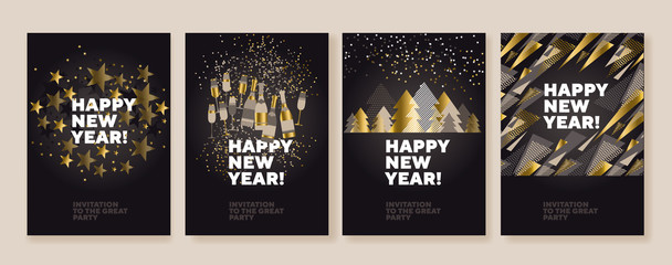 Concept luxury xmas design for header, banner, card, poster, invitation. Gold, white and black Christmas and new year set.