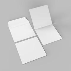 Blank white realistic square straight flap envelopes mock up. 3d rendering illustration.