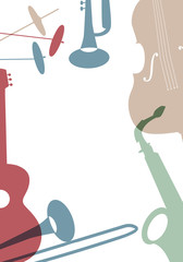 Jazz Poster. Set of musical instruments typical of jazz music.